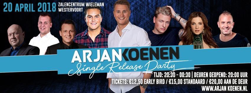 Single release party van debuutsingle van Arjan Koenen
