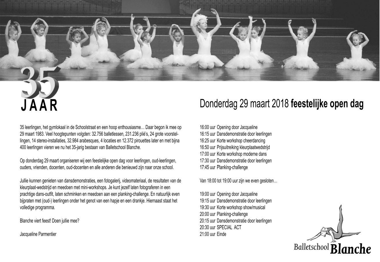 Balletschool Blanche Viert 35e Verjaardag