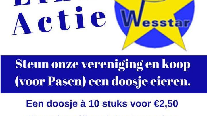 Verkoop van eieren ten bate van korfbalvereniging Wesstar