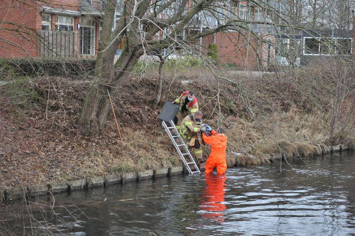 Brandweer redt meeuw die  verstrikt zat in visdraad